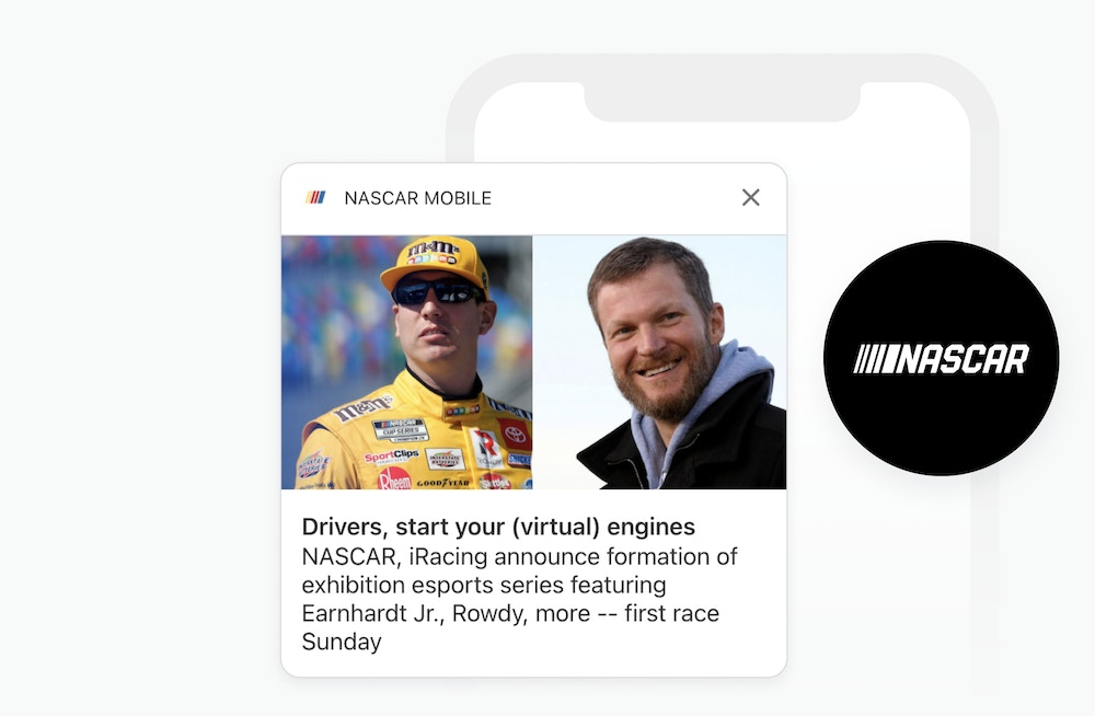 NASCAR logo and rich push notification