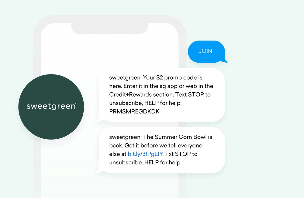 sweetgreen logo and SMS message exchange with customer