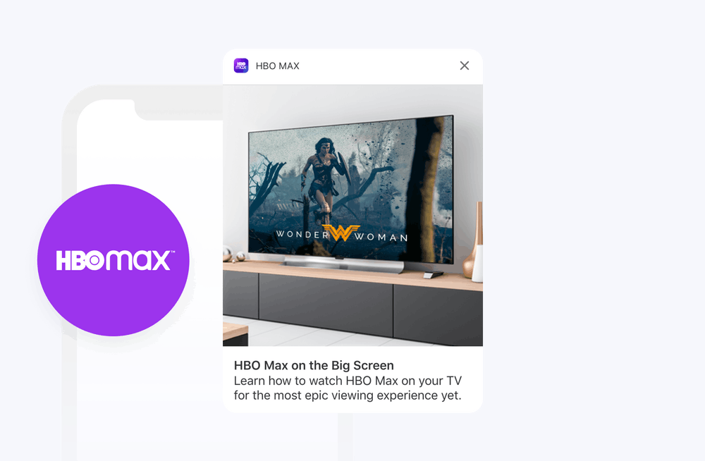 HBO Max logo and onboarding rich push notification