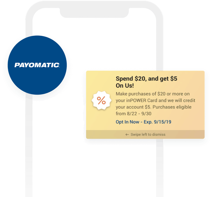 Payomatic logo and content card