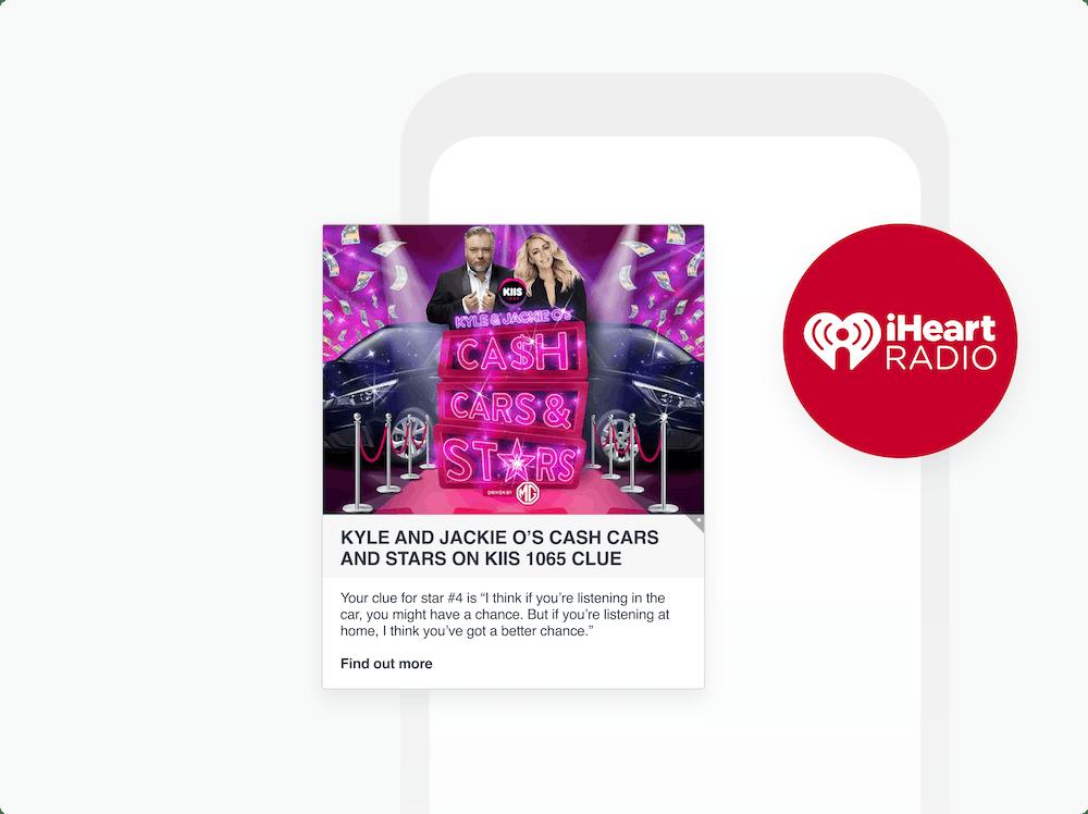 iheartradio logo and news feed card