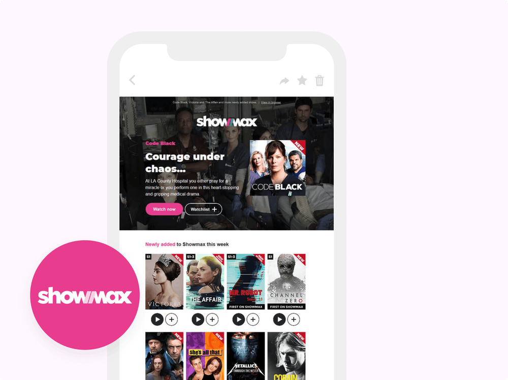 Showmax logo and email