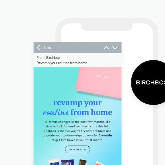 Birchbox logo and email