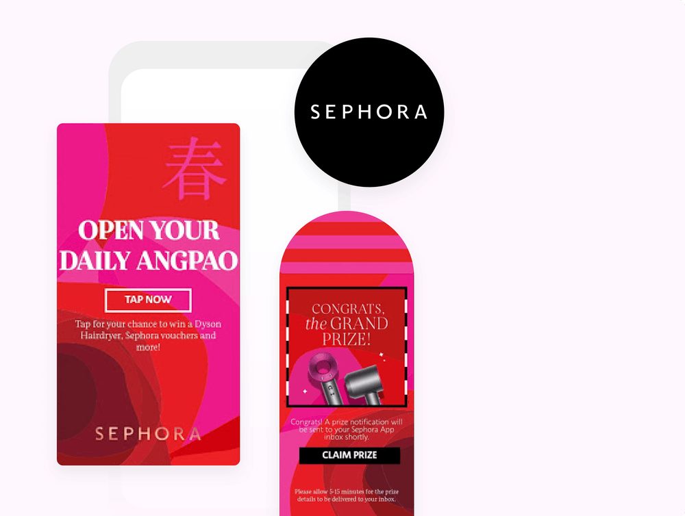 Sephora logo and examples of angpao in-app messages